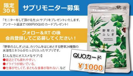 【無料モニター募集】野草のふしぎサプリ+1000円のQUOカードプレゼント